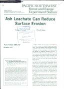 Ash Leachate Can Reduce Surface Erosion ebook