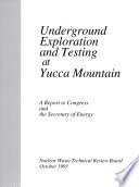 Underground Exploration and Testing at Yucca Mountain Book