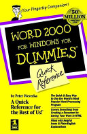 Word 2000 for Windows For Dummies Quick Reference