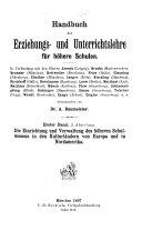 Handbuch der erziehungs- und unterrichtlehre für höhere schulen