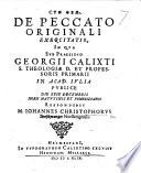 De peccato originali exercitatio  etc  Praes  G  Calixtus Book PDF