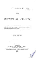 Journal Of The Institute Of Actuaries Book PDF