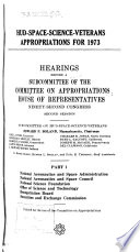 HUD space science veterans Appropriations for 1973