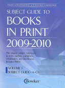 Subject Guide to Books in Print 2009 2010 Book