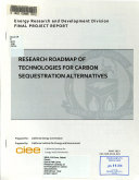 Research Roadmap of Technologies for Carbon Sequestration Alternatives