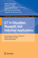 Pdf ICT in Education, Research, and Industrial Applications Telecharger