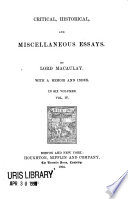 Critical  Historical and Miscellaneous Essays Book