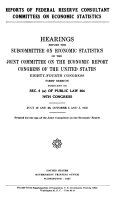 Reports of Federal Reserve Consultant Committees on Economic Statistics
