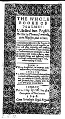 The Whole Booke of Psalmes: Collected Into English Meeter by Thomas Sternhold, John Hopkins and Others