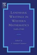 Landmark Writings in Western Mathematics 1640-1940 Pdf/ePub eBook
