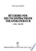Bücherkunde deutschsprachiger Theaterliteratur