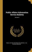 Public Affairs Information Service Bulletin  Book