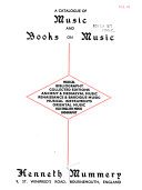 A Catalogue of Music and Books on Music