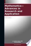 Mathematics—Advances in Research and Application: 2012 Edition