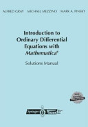 Introduction to Ordinary Differential Equations with Mathematica   Book