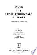 Index to Legal Periodicals & Books  , Band 34