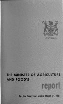 Annual Report of the Minister of Agriculture