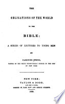 The Obligations of the World to the Bible
