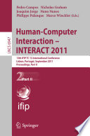 Human Computer Interaction Interact 2011 Book PDF