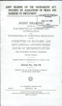 Joint Hearing on the Davis Bacon Act