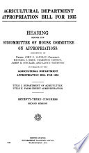 Agricultural Department Appropriation Bill For 1935