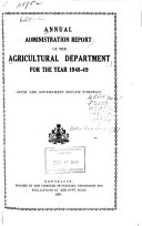 Pdf Report on the Working of the Agricultural Department