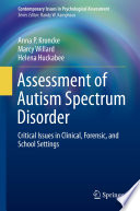 Assessment of Autism Spectrum Disorder Book