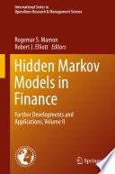Hidden Markov Models In Finance Book PDF