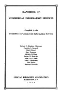 Handbook of Commercial Information Services