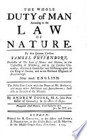 The Whole Duty of Man According to the Law of Nature