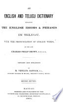 An English and Telugu Dictionary Explaining the English Idioms   Phrases in Telugu Book