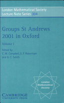 Groups St Andrews 2001 in Oxford  Volume 1