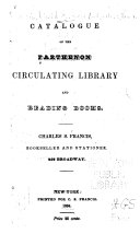 Catalogue of the Parthenon Circulating Library and Reading Rooms