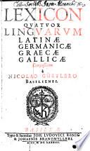 Lexicon quatuor linguarum
