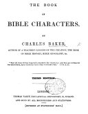 The Book of Bible Characters     Third Edition