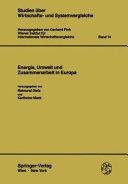 Energie  Umwelt und Zusammenarbeit in Europa