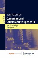 Transactions on Computational Collective Intelligence III