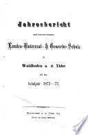 Jahresbericht der Niederösterreichischen Landes-Unterrealschule in Waidhofen a. d. Ybbs