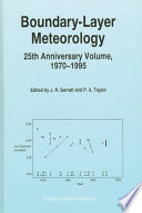 Boundary Layer Meteorology 25th Anniversary Volume  1970   1995