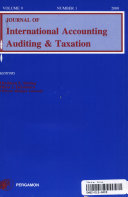 Journal of International Accounting  Auditing   Taxation Book