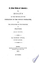 A New View Of Society Or Essays On The Principle Of Formation Of The Human Character And The Application Of The Principle To Practice