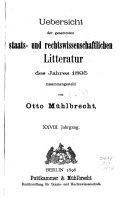 Allgemeine Bibliographie Der Staats  und Rechtswissenschaften