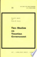 Two Studies on Venetian Government Book