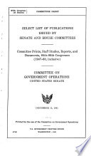 Select List Of Publications Issued By Senate And House Committees