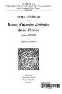 Table générale de la Revue d'histoire littéraire de la France