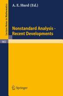 Nonstandard Analysis   Recent Developments