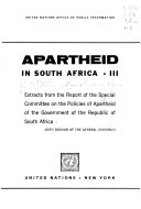Apartheid in South Africa  Extracts from the report  20th session of the General Assembly