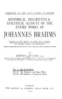 Handbook to the Vocal Works of Brahms