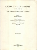 Union List of Serials in Libraries of the United States and Canada