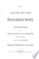 Western New York Horticultural Society. Proceedings